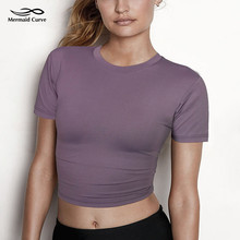 Fitness Crop Top Solid Running Tight T-shirt.