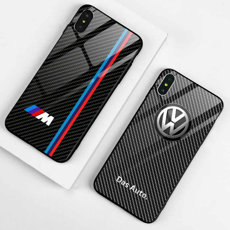 Cool Tempered Glass Car BMW Phone Case For iPhone Xs MAX XR X 7 8 6 6S Plus Back Cover Cases