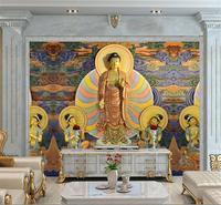 3d ملصقا غرفة خلفية مخصصة hd صورة جدارية غير المنسوجة اللون البوذية اللوحة أريكة التلفزيون خلفية ورق الحائط ل جدار 3d