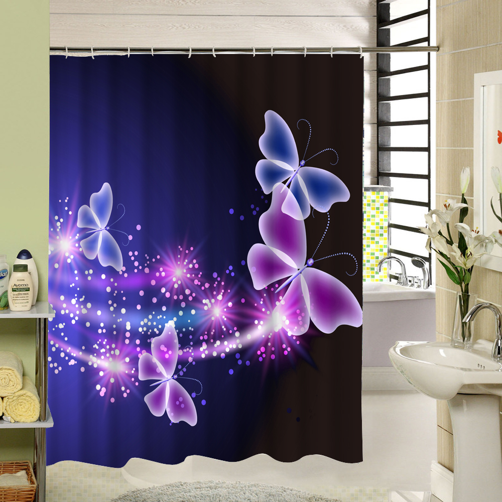 Modern mor renkli banyo dekorasyonu ev dekorasyonu dizayn - Polyester Kuma Du Perde Mor Su Ge Irmez Ev Banyo Perdeleri I In Kelebek Banyo Perde Banyo Dekor