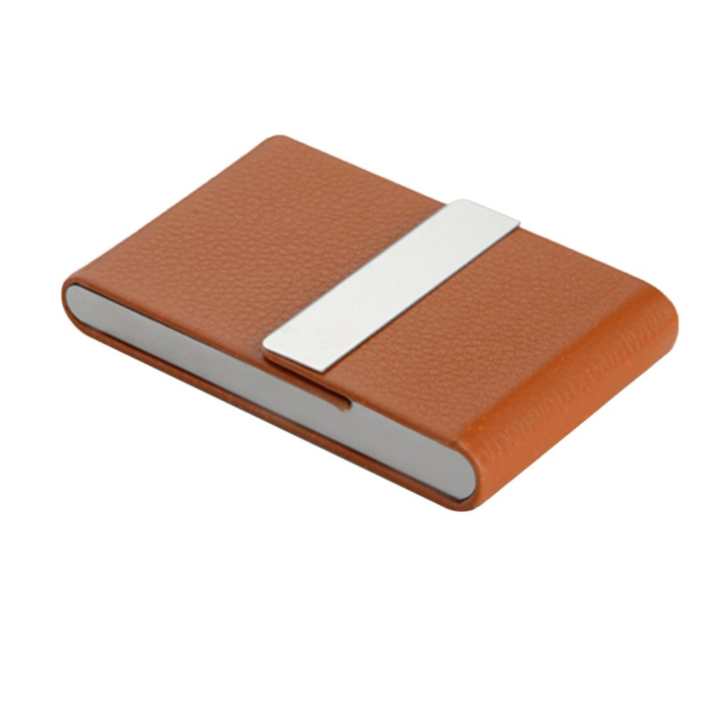 Coffee color Portable Upscale Ultrathin Luxury Imitation Leather Stainless Steel Pocket Carrying Business Card Cigarette Case