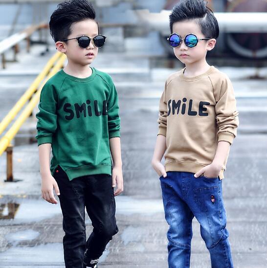 FreshT camisetas Para Niños Sleev Largo Del O-cuello Letra de la Impresión del Ocio Pullover Roupas Infantis Menino Dividido Dobladillo de la Camiseta de Los Niños