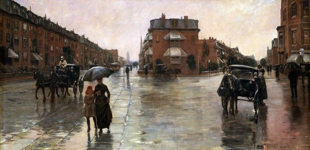 Décor à la maison Art grande peinture à l'huile peinte à la main sur toile jour de pluie, Boston paysage peinture murale de haute qualité pas encadré