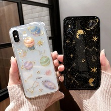 Tfshining Glitter Universe Planet Phone Case For iphone XS MAX X XR 7 8 Plus 6 6s Cartoon Star Bling Moon Soft TPU Cover
