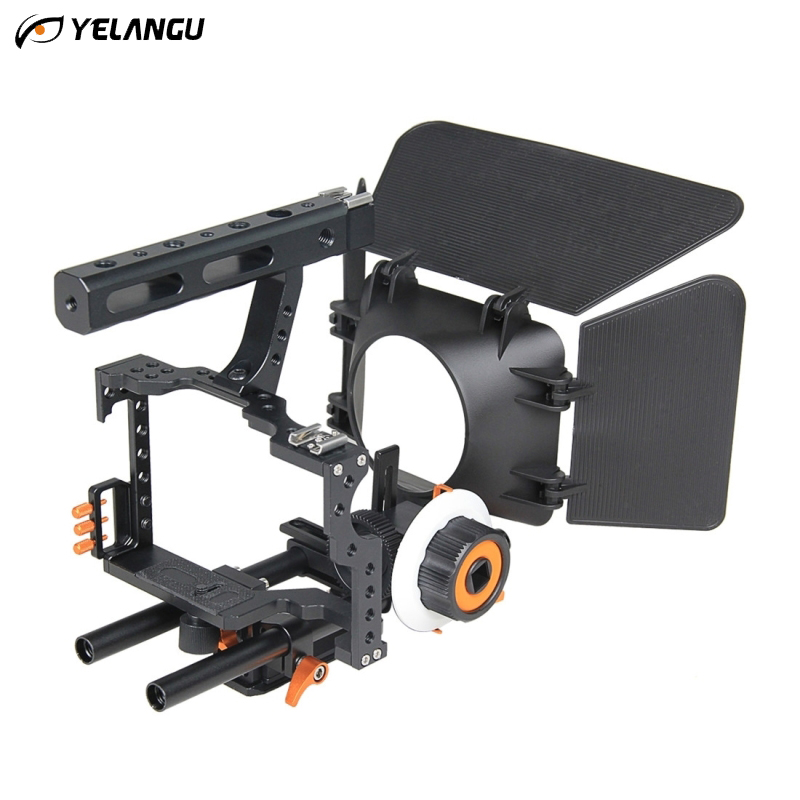 YELANGU Universal DSLR Rig Shoulder Video Camera Stabilizer Cage/Matte Box/Follow Focus For Canon Nikon Sony Camera Camcorder yelangu professional handheld shoulder mount dslr video camera stabilizer support system kit matte box follow focus c shape tubo