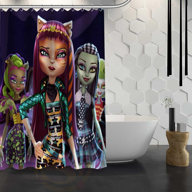 Custom Monster High Shower Curtain Waterproof Fabric Shower Curtain for Bathroom WJY1.17