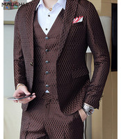 2018 Boys Coffee Fashion Geometric Plaid Printed Men Suit Vest With Pants 3 Piece Slim Fit Wedding Tuxedo Suits for Men Mauchley