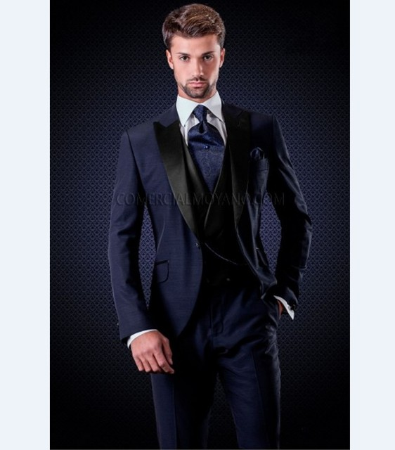 Custom Made Groomsmen Peak Black Lapel Groom Tuxedos Navy Blue Men Suits Wedding Best Man Blazer