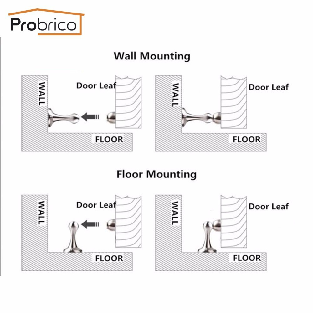 Buy Probrico Heavy Duty Door Stop Easy Install Ds Series Magnetic Lock Wiring Instructions Dshh911 Metal Wall Mounted Holder Floor Catch Stopper From