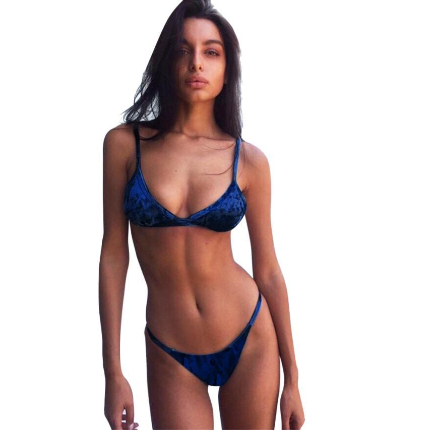 Brazilian Womens Velvet Bikini Set Sexu Low Waist Swimming Costumes Swimsuit Push Up Swimwear Maillot De Bain Bandeau Biquini In Bikinis Set From Sports