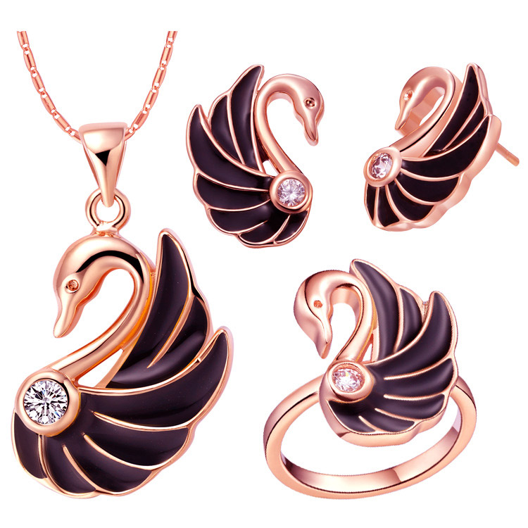Hot Sale Gold Color Jewelry Set For Women Luxury Goose Design With Black Zircon Necklace Earrings Rings For Wedding