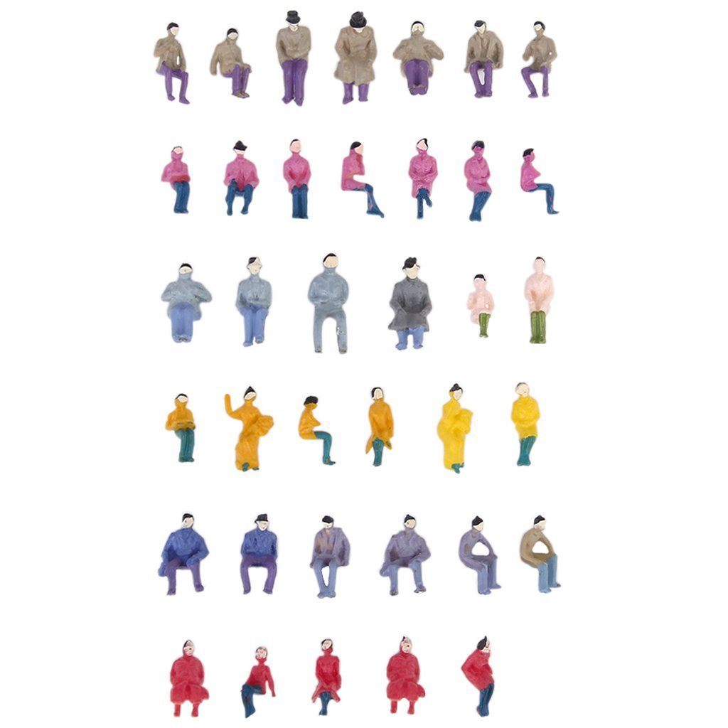 About. 50 Pcs Figurines Passengers Seated Painted Miniature Decor For Train Scale 1:87 Vente Chaude