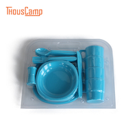 26pcs Outdoor Tableware Cup Spoon Fork Knife Plate Bowl Portable Outdoor Camping Plastic Cutlery Picnic BBQ Acampamento