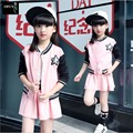 2016 New Selling Kids Spring Children Star Baseball Uniform Child Two Sets Korean Girls Suit Hot Kids Clothing Sets Pink5-15Year