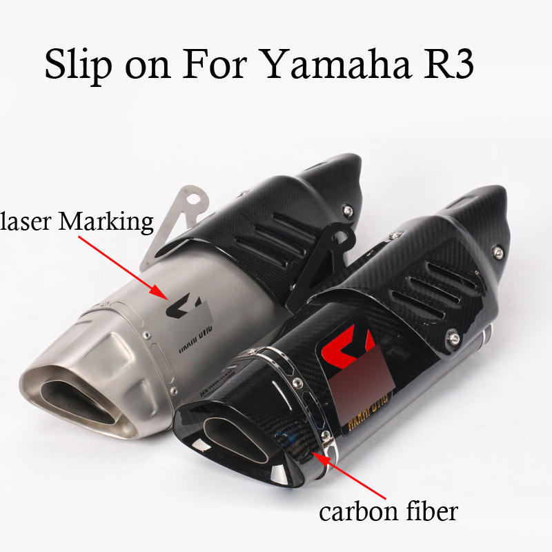 Slip on For Yamaha R3 Full Motorcycle Exhaust System Muffler with Connection Link Pipe with Laser Marking/sticker new motorcycle exhaust full stystem mid link pipe motorbike laser marking muffler for ducati scrambler with muffler