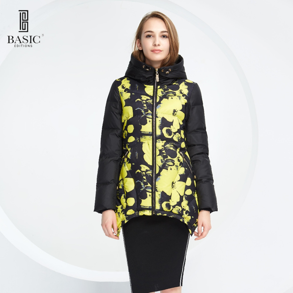 Basic Vogue Women Winter Floral Pattern Short Overcoat Down Jacket with Hood – Y16083-1