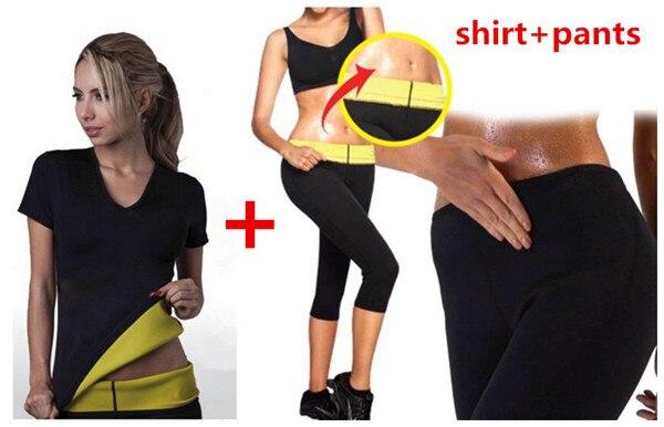 5SETLOT T-shirt + Pants 2016 Hot New shaper women Neoprene T Shirts pants sweating shaper stretchy slimming suit