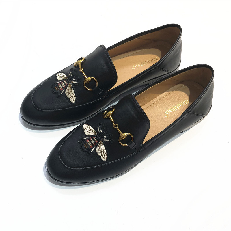 Women Loafers Flats Slip On High Quality Genuine Leather Shoes Bee Emb Boat Shoes Thick Square Heel Leather Casual Shoes Flat zdrd women casual shoes high quality designer genuine slipony flats women loafers shoes chaussure femme ballet flats boat shoes