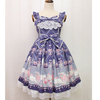 Sweet Sleeveless Lolita Dress Kitten And Jewel Printed Midi Dress For Women