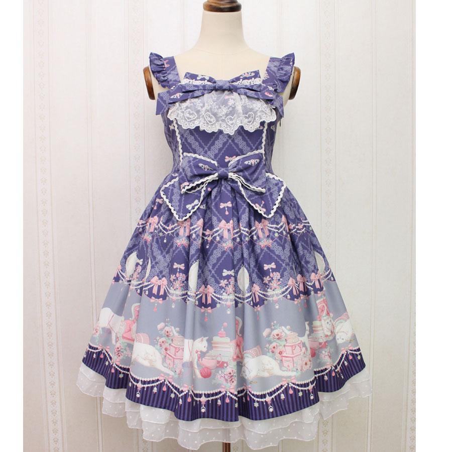 Sweet Sleeveless Lolita Dress Kitten and Jewel Printed Midi Dress for Women