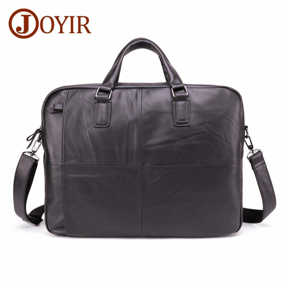 JOYIR 2019 Genuine Leather Men's Briefcase Large Capacity Business Bag Black Male 17