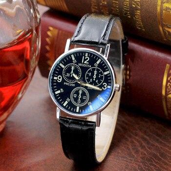 GEMIXI 2019 Design de mode Six broches montres Quartz montre pour hommes bleu verre ceinture montre hommes 328