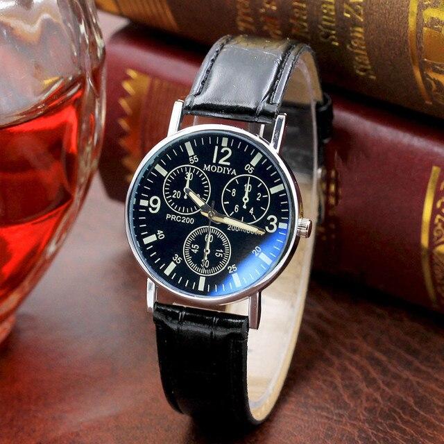 GEMIXI   2019 Fashion Design  Six Pin Watches Quartz Men's Watch Blue Glass Belt Watch Men   328