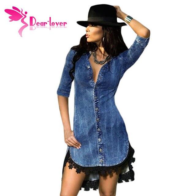 cbad5f5337 Dear-Lover Elegant Womens Jeans Street Style Lace Trim Button Down Half  Sleeve Denim Shirt Dress vestidos vetement femme LC22439