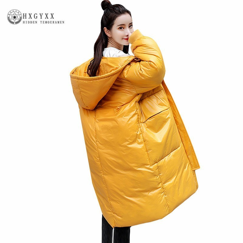 Shiny   Parka   Female Long Cotton Winter Coats Plus Size Woman Clothes Korean Bf Thick Puffer Jacket Hooded Warm Outwear Okd530