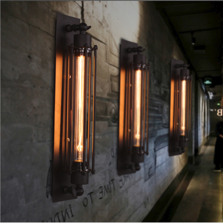 Industrial Vintage Wall Light Bra Iron Loft Lamps Bedroom