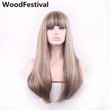 Woodfestival Женские синтетические парики с челкой термостойкие блондинка смешанные цвета длинные прямые волосы парик