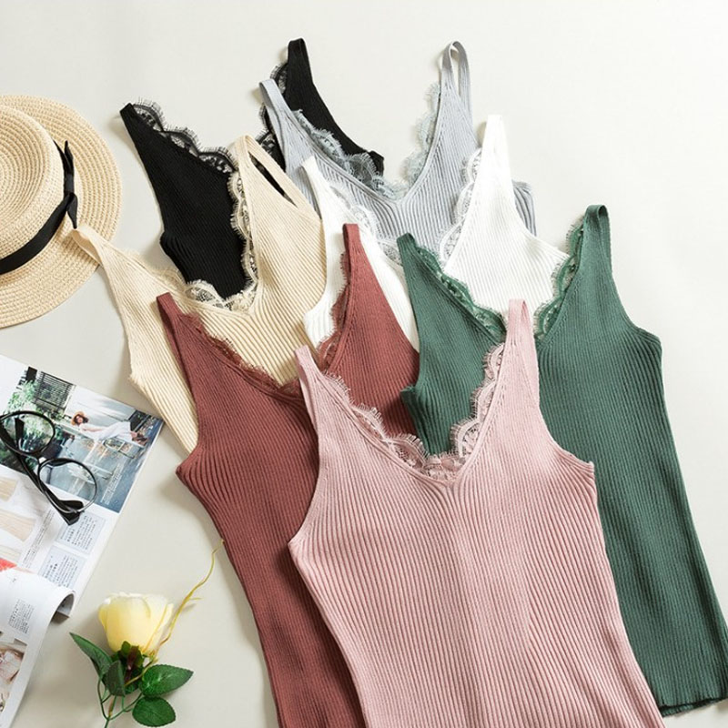 New Free Size Vest Women Fashion Fitness V Neck Sexy 1PC Knitted Lace Korean Solid 2018 Summer Tank Tops Lace