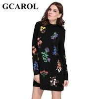 Gcarol جديد الخريف الشتاء فستان زهري مطبوعة الوقوف الياقة كم الأزياء خمر الإناث اللباس الكامل