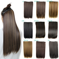 """24"""" 120g Real Natural Hair Extention 3/4 Full Head Clip in Hair Extensions straight US UK Hairpiece fast shipping factory price"""