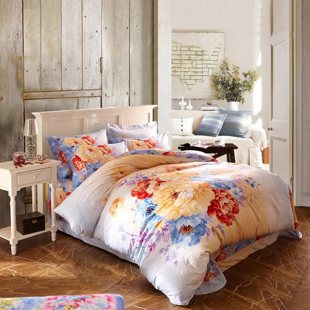 Bright Colored Flowers Watercolor Bedding Set Queen U0026 King Size Duvet Cover Bed  Sheets Pure Cotton