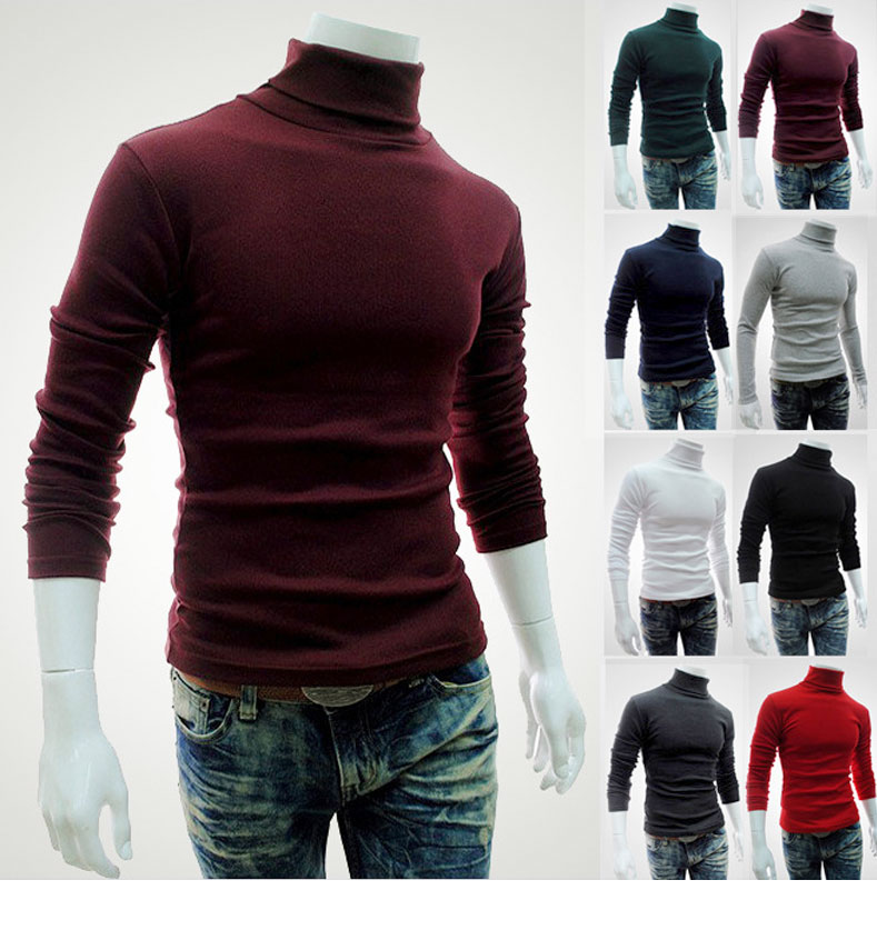 ZOGAA 2019 Winter Men's Long-sleeved Solid Color Fashion Casual High Neck Sweater Thickening Slim Bottoming Sweater Size M-2XL