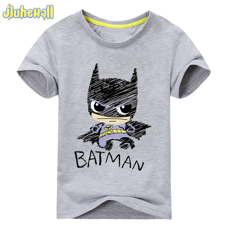 Baby Cotton Batman Print Clothes Boy Cartoon T-Shirt Girl Summer T Shirt Children Short Sleeve Tee Tops For Kids Costume ACY031 rose print marled tee