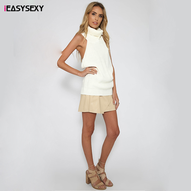 iEASYSEXY 2017 Fashion Women New Sexy Backless Cable Knit High Neck Sweater Sleeveless Vest Winter Pullover Tops For 3 Colors