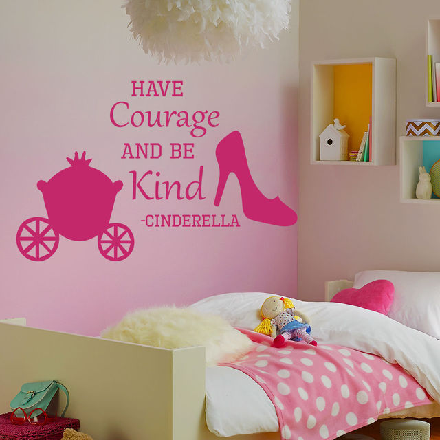 Wall Decals Quote Cinderella Have Courage Shoes Decal Girl Room Sticker
