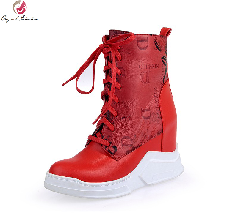 Original Intention Women Ankle Boots Round Toe Height Increasing Boots Black White Red Orange Shoes Woman US Size 4-10.5 new stylish women mid calf boots fashion round toe height increasing boots beautiful black brown red shoes woman us size 4 10 5