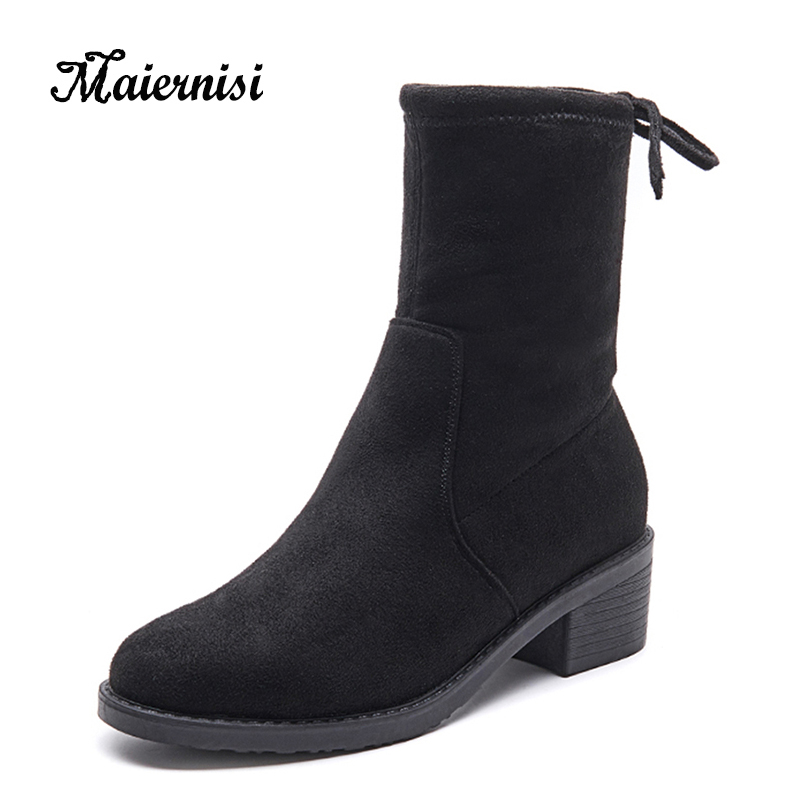 MAIERNISI Casual Women Boots Fashion Female Winter Shoes Plush Warm Rear Lace-up