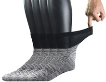 남자 4 쌍 대나무 당뇨병 발목 양말 원활한 발가락과 쿠션 단독, L 크기 (양말 크기: 10 13)