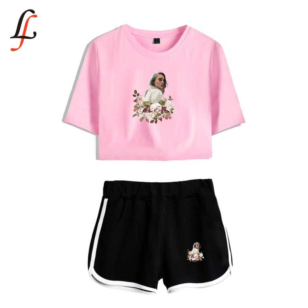 Billie Eilish Harajuku Modis Sexy Two Piece Set Short Sleeve Short Tops And Middle Waist Shorts Suits Fitness Combinaison Femme Aliexpress