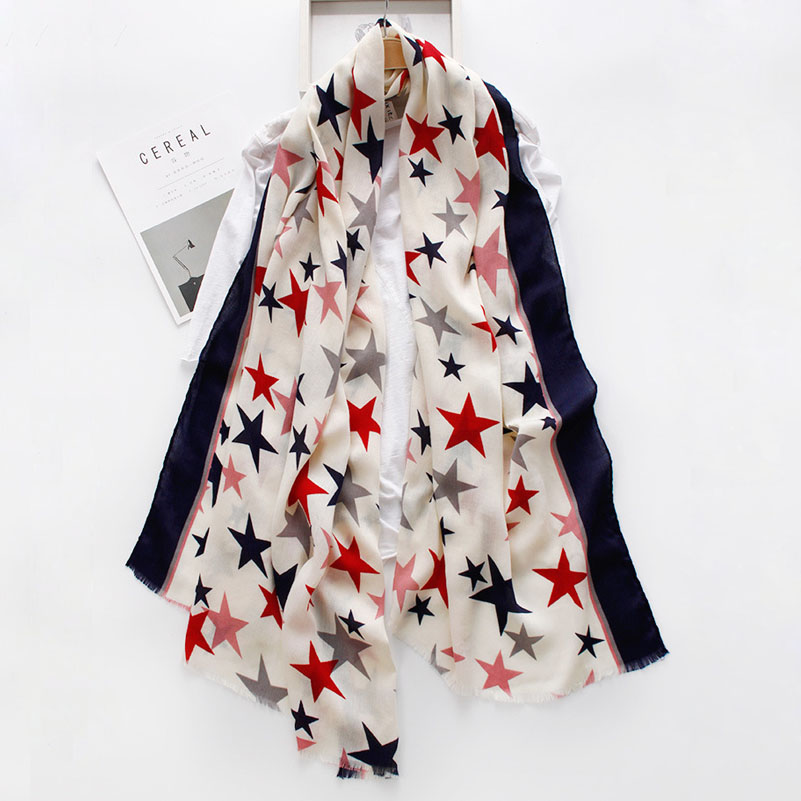 European And American Style Pentagram Pashmina Print Star   Wrap   Shawls Women's Fashion Long   Scarf     Wraps   180*90cm