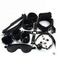 Chastity lock 10pcs/set Nipple Clamps Sexy Toys Adult Plush black Suit Blindfold and Handcuffs lock keyed padlocks