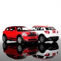 1:32 escala diecast liga de metal modelo de carro para mini countryman coopers model collection pull back toys car-red/branco/verde/preto