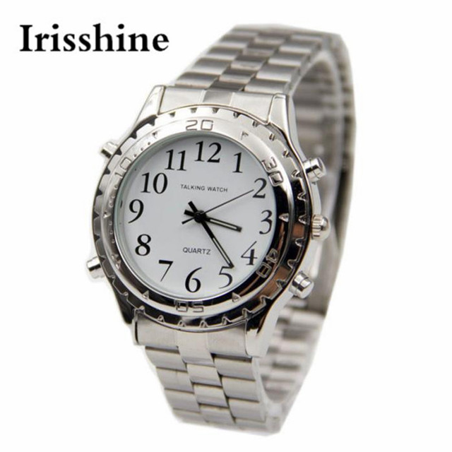 Irisshine i0650 reloj Hablando Inglés diseñador unisex de los hombres de Acero Inoxidable Reloj para las personas Ciegas o con discapacidad visual regalo de amor