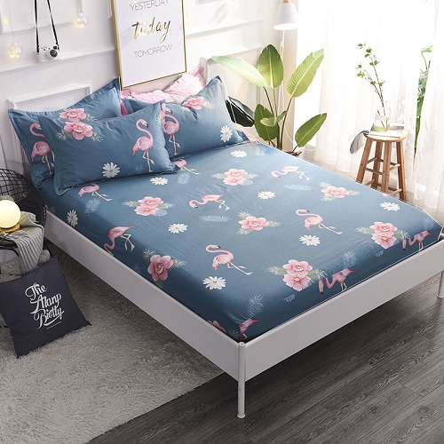 (New On Product) 1pcs 100% Cotton Printing bed mattress set with four corners and elastic band sheets(pillowcases need order) 23