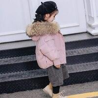Real Fur Collar Kids Winter Coat Thick Warm Unisex Children Snowsuit Boys Down Coats Short Design Girls Outwear Jacket Outdoors