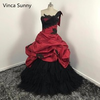 Gothic 2016 Red And Black Wedding Dresses Robe De Mariage New Puffy Unique One Shoulder Victorian